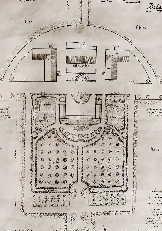 Hovelsrud Gård - Tegning av hagen